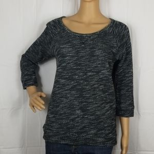 Express black & gray sweater with black lace back